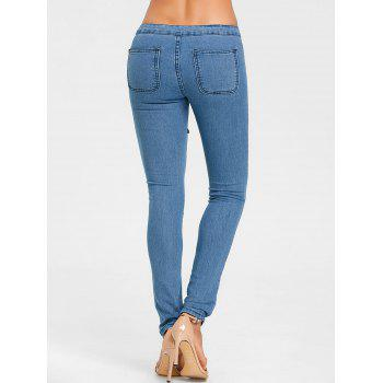 Flower Embroidered Skinny Colored Jeans - BLUE L