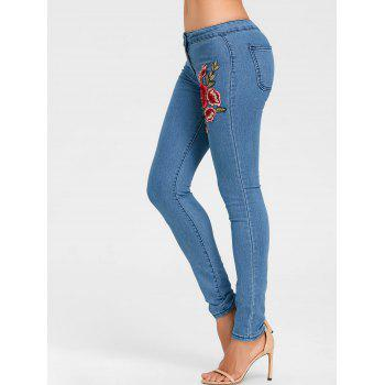 Flower Embroidered Skinny Colored Jeans - BLUE BLUE