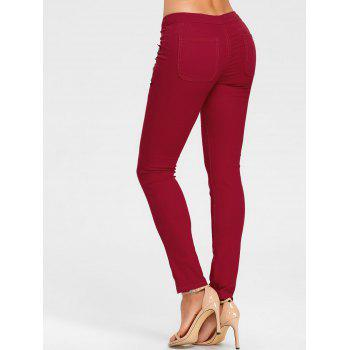 Flower Embroidered Skinny Colored Jeans - CLARET 2XL