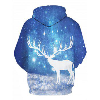 Galaxy Caribou 3D Print Pullover Hoodie - COLORMIX 5XL