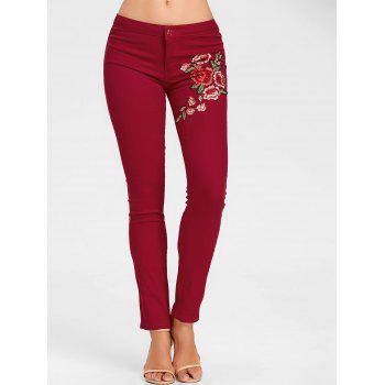 Flower Embroidered Skinny Colored Jeans - CLARET XL