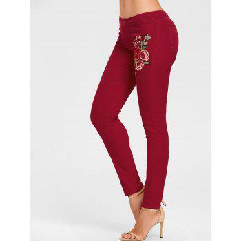 Flower Embroidered Skinny Colored Jeans - CLARET CLARET