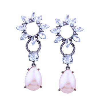 Faux Pearl Rhinestone Teardrop Floral Earrings - PINK / WHITE
