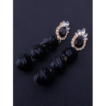 Sparkly Faux Gem Teardrop Sequins Ball Earrings - BLACK