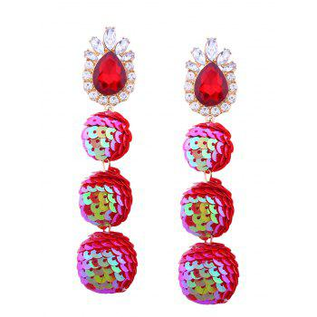 Sparkly Faux Gem Teardrop Sequins Ball Earrings - RED