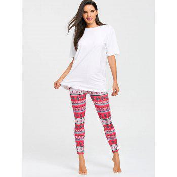 Printed Ankle Length Skinny Leggings - COLORMIX L
