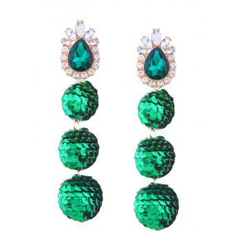Sparkly Faux Gem Teardrop Sequins Ball Earrings - GREEN