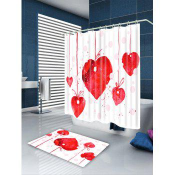Valentine's Day Heart Cherry Waterproof Shower Curtain - RED W71 INCH * L79 INCH