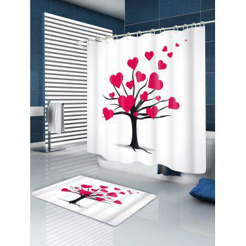 Mature Love Tree Valentine's Day Waterproof Shower Curtain - RED W71 INCH * L79 INCH