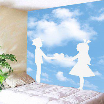 Lovers Holding Hand Patterned Wall Tapestry - BLUE/WHITE W91 INCH * L71 INCH