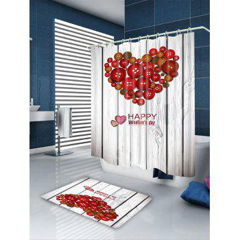 Valentine's Day Buttoned Heart Waterproof Shower Curtain - COLORFUL W71 INCH * L79 INCH