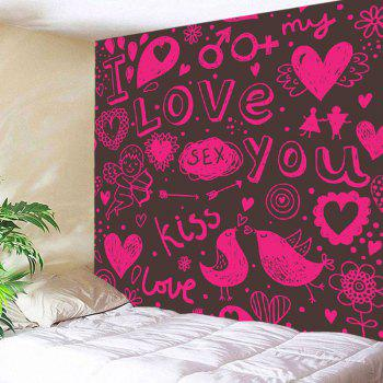 Cupid Love Expression Series Printed Wall Hanging Tapestry - PINK W91 INCH * L71 INCH