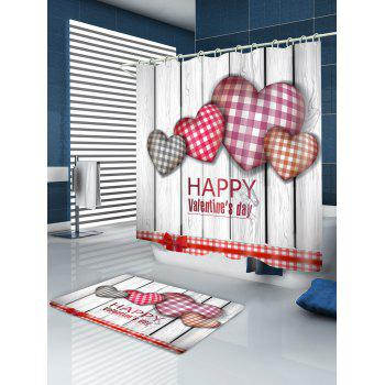 Plaid Heart Valentine's Day Waterproof Shower Curtain - COLORFUL W71 INCH * L79 INCH