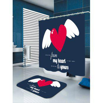 Valentine's Day Heart Angel Printed Shower Curtain - BLUE/WHITE/RED W71 INCH * L79 INCH