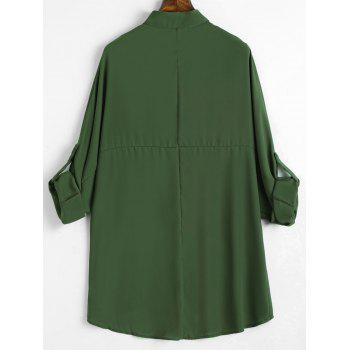 Plus Size Roll Up Sleeve High Low Chiffon Blouse - ARMY GREEN 2XL