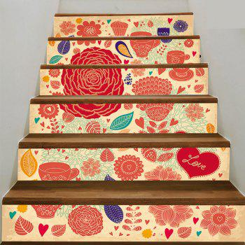 6 Pieces Flourishing Flower Stair Stickers - RED RED
