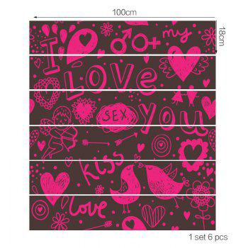 Love Theme Printed Home Decor Stair Stickers - WATER RED 100*18CM*6PCS