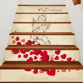 Romantic Valentine Cupid Print Stair Stickers - COLORFUL COLORFUL
