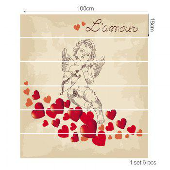 Valentine's Day Romantic Valentine Cupid Print Stair Stickers - COLORFUL 100*18CM*6PCS