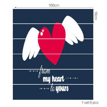 Heart with Wings Print Home Ornament Stair Stickers - COLORFUL COLORFUL