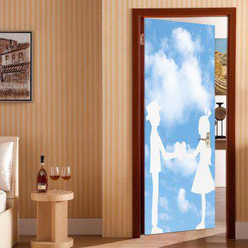 Enviromental Removable Bluesky and Lovers Pattern Door Stickers - BLUE BLUE