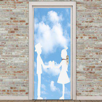 Valentine's Day Enviromental Removable Bluesky and Lovers Pattern Door Stickers - BLUE 38.5*200CM*2PCS
