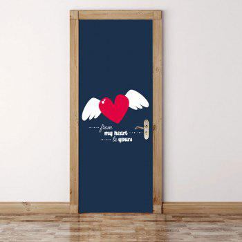Heart Wings Pattern Valentines Day Door Stickers - COLORMIX COLORMIX