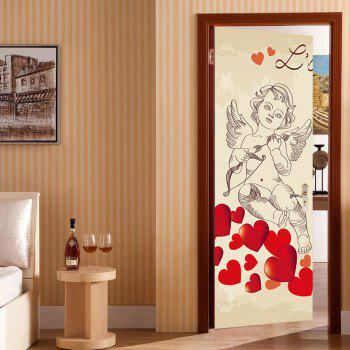 Cupid Heart Pattern Valentines Day Door Stickers - COLORMIX COLORMIX