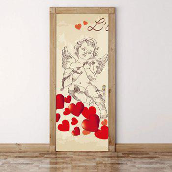 Cupid Heart Pattern Valentines Day Door Stickers - COLORMIX 38.5*200CM*2PCS