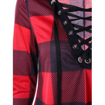 Plus Size Plaid Lace Up Tee Dress - RED 4XL