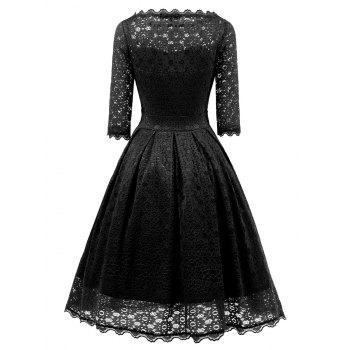 Vintage Party Lace Fit and Flare Dress - BLACK L