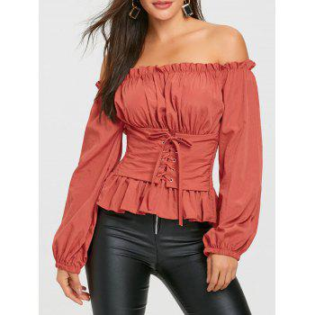 Off The Shoulder Lace Up Smocked Blouse