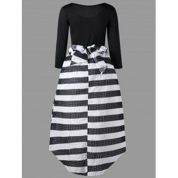 Tee with Striped Dip Hem Skirt - BLACK M