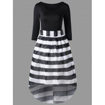 Tee with Striped Dip Hem Skirt - BLACK BLACK
