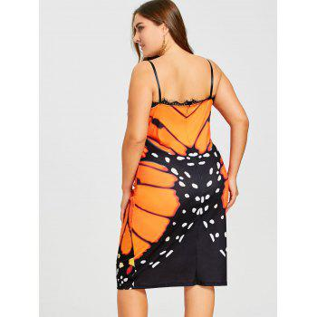 Plus Size Butterfly Knee Length Slip Dress - ORANGE YELLOW ORANGE YELLOW