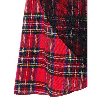 Lace Trim Plaid Overlap Skirt - RED M
