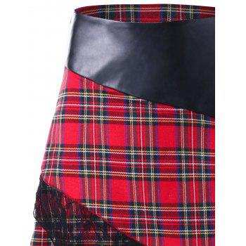 Lace Trim Plaid Overlap Skirt - RED L