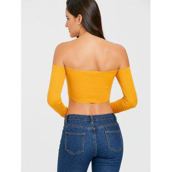 Long Sleeve V Cut Strapless Crop Top - MUSTARD MUSTARD