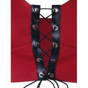 Lace Up Padded Camisole - RED RED