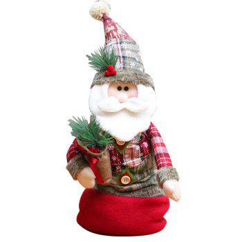 Santa Claus Snowman Stretchable Cloth Doll Christmas Ornament - RED