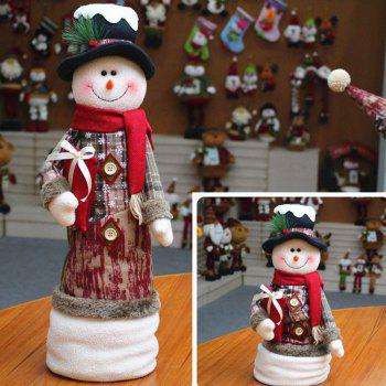 Santa Claus Snowman Stretchable Cloth Doll Christmas Ornament - WHITE WHITE