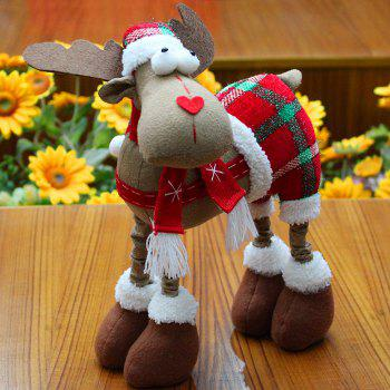 Plaid Trousers Elk Cloth Doll Ornament Christmas - RED RED