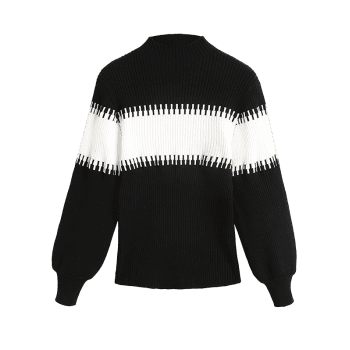 Lantern Sleeve Slash Neck Contrast Sweater - BLACK ONE SIZE