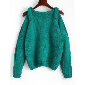 Cold Shoulder Plain Cable Knit Sweater - SEA GREEN ONE SIZE