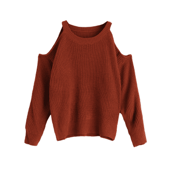 Cold Shoulder Crew Neck Pullover Sweater - COFFEE ONE SIZE