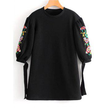 Floral Embroidered Bow Tied Sleeve Mini Dress - BLACK BLACK