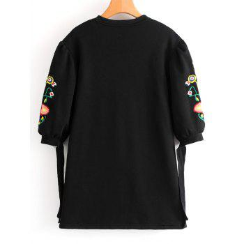 Floral Embroidered Bow Tied Sleeve Mini Dress - BLACK L