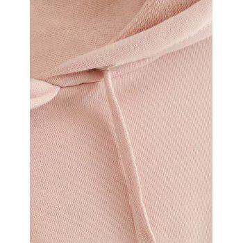 Letter Embroidered Cropped Hoodie - PINK M