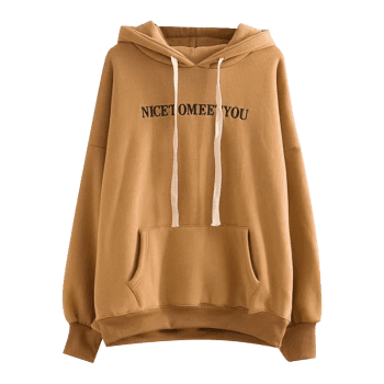 Letter Embroidered Oversized Drawstring Hoodie - KHAKI ONE SIZE
