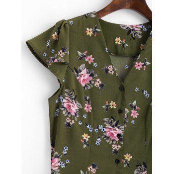 Button Up Cap Sleeve Floral Mini Dress - ARMY GREEN M